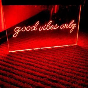GOOD VIBES ONLY LED NEON RED LIGHT SIGN 8x12